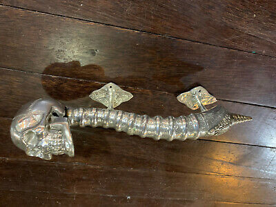 large SKULL head handle DOOR PULL spine SILVER BRASS old vintage style 33 cm B 3