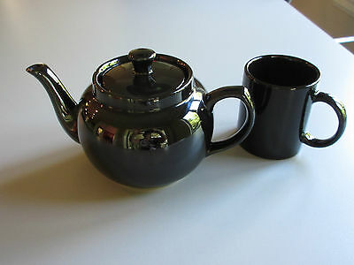 Vintage : Set of Glossy Black Teapot 32on. + one 8on. Cup 6