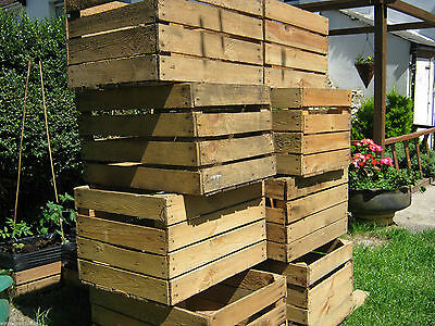 Light Natural Vintage Wooden Apple Fruit Crate Rustic Old Bushel Box Hamper. 11