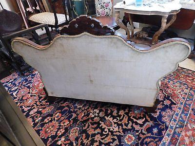 """Victorian Mahogany Carved Slipper Sofa Gold Velvet Upholstery 35 1/2"""" H x 46"""" W 6"""