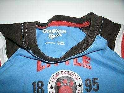 Oshkosh Boy's T-Shirt Long Sleeve Blue Brown Orange Size 3 Months New 6