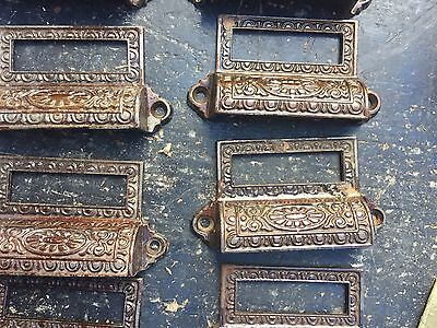 c1890 SET of 10 matching authentic VICTORIAN cabinet pull hardware 3 5/8 on hole 8