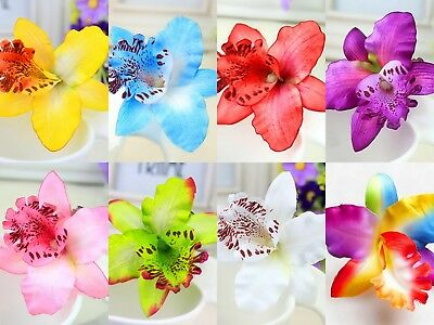 Ladies Womens Girls Orchid Flower Bright Summer Holiday Festival Hair Clip Uk 2