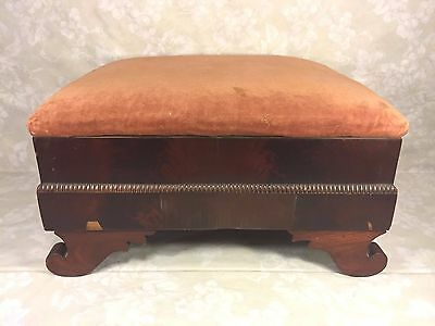 Antique Empire Mahogany Footstool w/ Upholstered Top 6