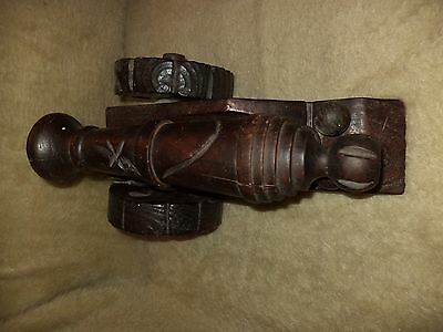 Hand Made Old Antique Cannon Wooden Model 5