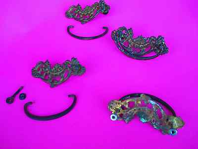 4 Antique set of ( 4 ) matching  /  Ornate Victorian Brass - FOUR - Draw Pulls 5