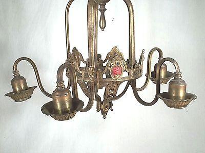Antique Victorian Art Nouveau Gilt Metal Serpentine Arm 5 Light Chandelier 3