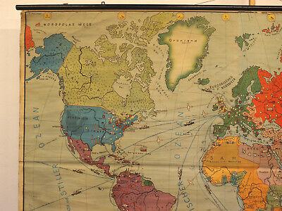 Schulwandkarte schöne alte Erde Weltkarte Deutschland 234x157c vintage map ~1955 4