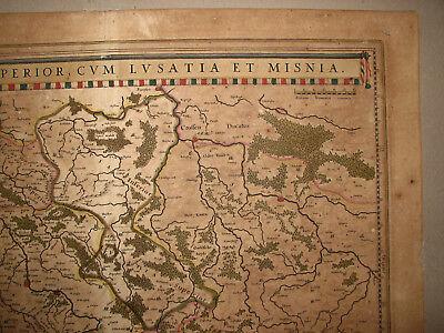 SACHSEN, LAUSITZ. Originale Kupferstich Landkarte, bei Blaeu ca. 1645