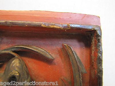 Antique Asian Hand Carved Panel red gold paint flowers bird wall architectural 8
