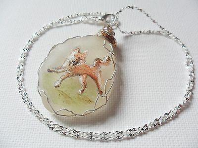 """Happy dog necklace, hand painted to order - 18"""" silver plated starry chain 5"""