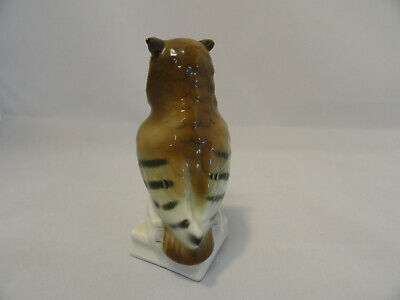 """Porcelain Owl Bird Figurine Amber Glass Eyes Made in Germany 4.5"""" RARE A1-11 3"""