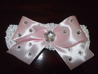 White Baby / Girls Crochet Romany Bling Headband with pink bow. 3