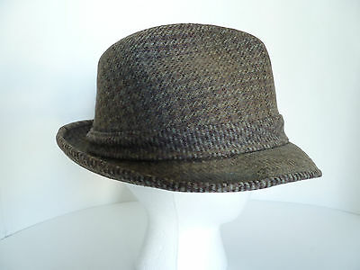 ... Vintage Stetson 100% Pure Wool Brown Tweed Trilby Hat with Feather 4 c50ce77f909