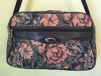 Vintage Jaguar Bag Carry On Tote Travel Luggage Overnight Tapestry Floral 4