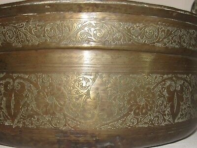 05E38 ANTIQUE BASIN FOR EWER COFFEE COPPER BRASS ART ISLAMIC ORIENTAL xixth 3