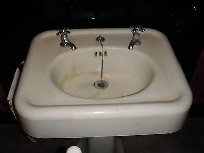 Vintage Pedestal Sink With Faucets Or A Barber Sink 4