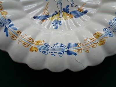 Rare Antique Nevers France Faience 17th Century Lobbed Bowl Putti & Pan Flute 4
