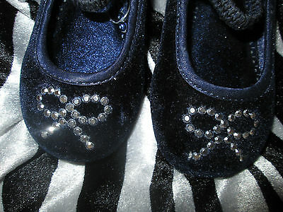 Infant Girls John Lewis Dark Blue Velvet Minnie Mouse Diamante Bow Shoes Uk 5 22 2