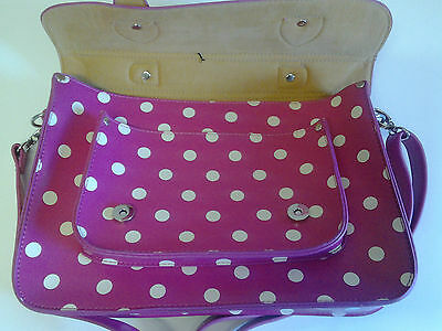 Pink with white spots Satchel (Polka) Faux Leather 4
