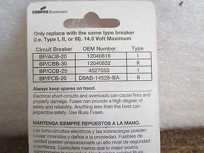 Bussmann  BP/Ccb25 Fuse Circuit Breaker fuse 25 AMP 14.5 Volt Max 9