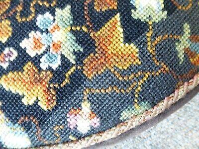 Vintage Elizabeth Bradley Persian embroidery tapestry footstool wood feet 11