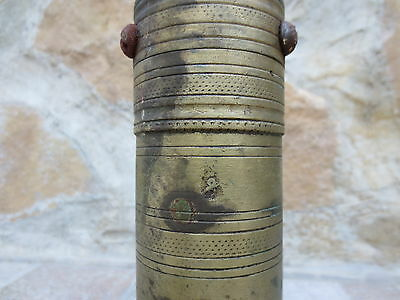 Primitive Antique Ottoman Brass-Carved TUGRA Marked Hand Coffee Grinder 19th #03 3