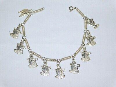 Egyptian 925 solid Stamped silver Revival Pharaoh Head Link Bracelet 20.77 grams 5