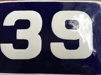 ANTIQUE VINTAGE EUROPEAN ENAMEL SIGN HOUSE NUMBER 39 DOOR GATE SIGN 1950's