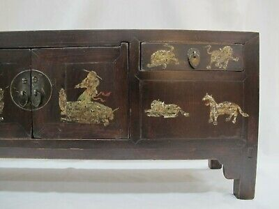A Chinese Antique Brown Color Wood Kang Low / TV display Table / Stand 39'' Wide 10