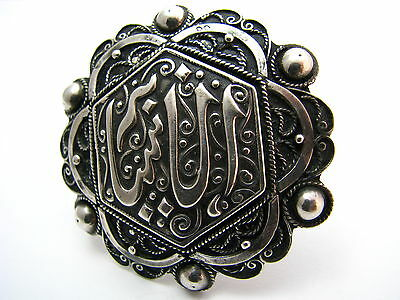 ANTIQUE ARABIC ISLAMIC SILVER BROOCH PIN FILIGREE North Africa Tunisia ca1900's. 4