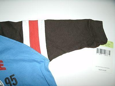 Oshkosh Boy's T-Shirt Long Sleeve Blue Brown Orange Size 3 Months New 4