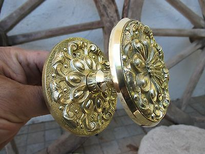 Architectural Salvage Vintage Lovely Brass Complete Large Knob Handle Outside 3