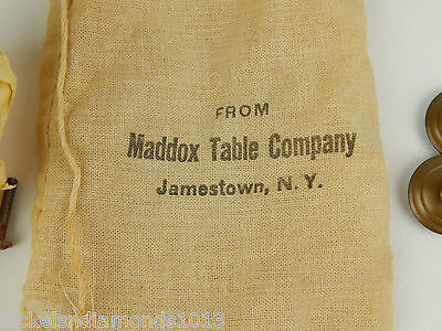 Antique Maddon Table Company Drawer Pulls / Knobs W/ Hardware Sack & Tag 6