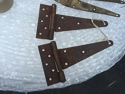 "3 sets of vintage antique strap hinges for doors 10, 16, & 19"" L some rust 2"
