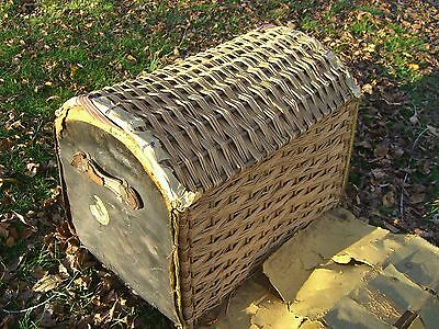 Vintage Oil Cloth/Wicker English Steamer Trunk w/White Star/Cunard Stk c.1930 3