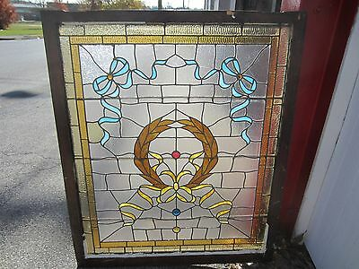 ANTIQUE AMERICAN STAINED GLASS LANDING WINDOW 35.75x42.25 ARCHITECTURAL SALVAGE 11