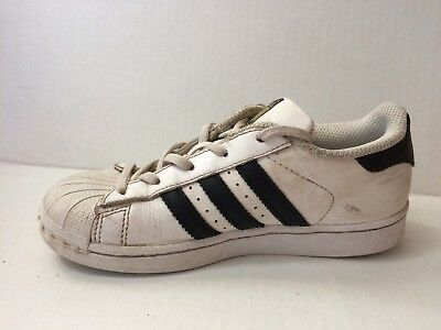 ADIDAS SUPERSTAR C BA8378 White Black Gold Shoes Boys 13.5 Youth Leather Sneaker