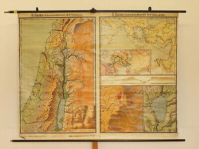 Alte Schulwandkarte Wandkarte Palästina Biblische Länder 202x149cm vintage~1925 5