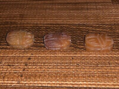 Three (3) Larger Antique Egyptian Carved Carnelian Stone Scarab Beads Pendants 3