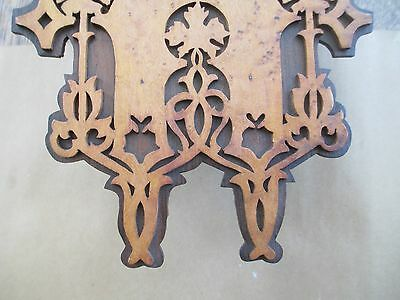 Antique GOTHIC wall clock BLACK FOREST - FRET WORK  bird's eye maple and exotic 9