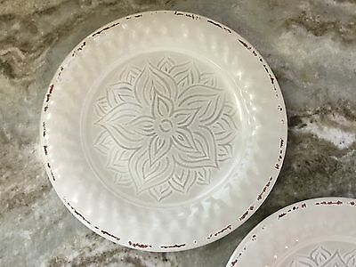 6 of 12 Bone White Rustic Medallion Dinner Plates. Melamine. Set Of 4. New. & BONE WHITE Rustic Medallion Dinner Plates. Melamine. Set Of 4. New ...