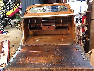 ... Antique oak slant top desk - ANTIQUE OAK SLANT Top Desk - $250.00 PicClick