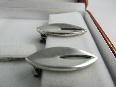 "Rua Denmark Clip Back Sterling Silver Attractive Earrings 1 1/8"" H Xlnt Cond 3"