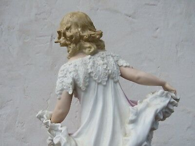 "Gebruder Heubach Hand Painted Dancing Girl Bisque Piano 15.5"" Figurine (c.1900) 9"