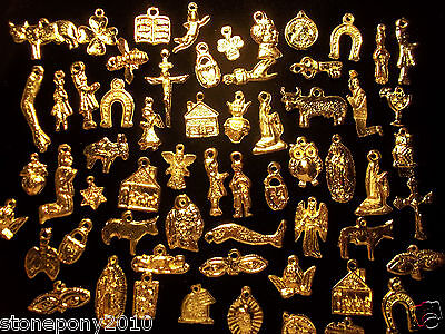 50 GOLD Import Mexican Milagros Shiny Good Luck Ex Votos Dijes Miracle Charms 4