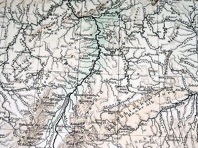 1896 Antique Original Physical Map Of Germany Poland Rivers Mountains 5