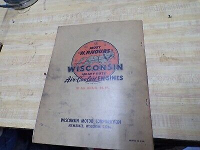 wisconsin air cooled engine instructions parts book model s-8d 2
