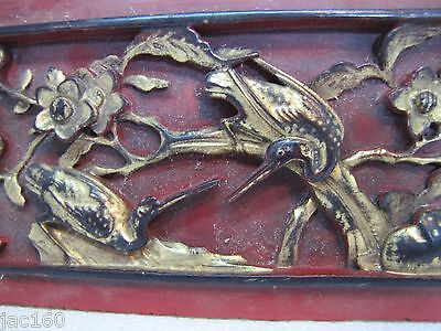 Antique Asian Hand Carved Panel red gold paint flowers birds wall architectural 7