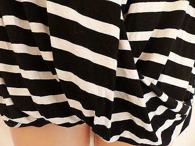 Wallis size 12 black and white striped jersey faux wrap top black vest 8